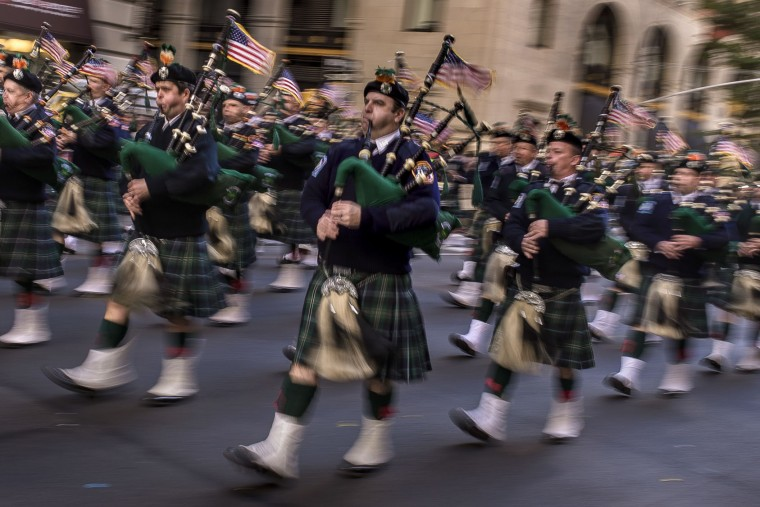Police personnel march in the annual Veterans Day parade in New York, Friday, Nov. 11, 2016. (AP Photo/Andres Kudacki)