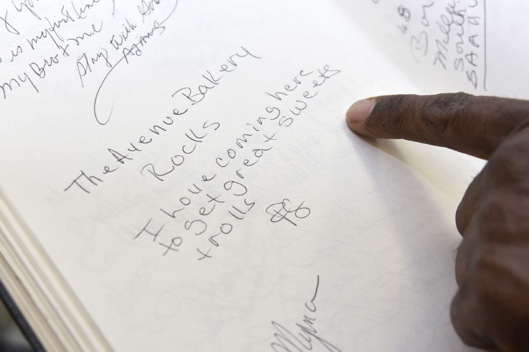 "One entry in the guest book at The Avenue Bakery says, ""I love coming here to get great sweets and rolls."" (Barbara Haddock Taylor/Baltimore Sun)"