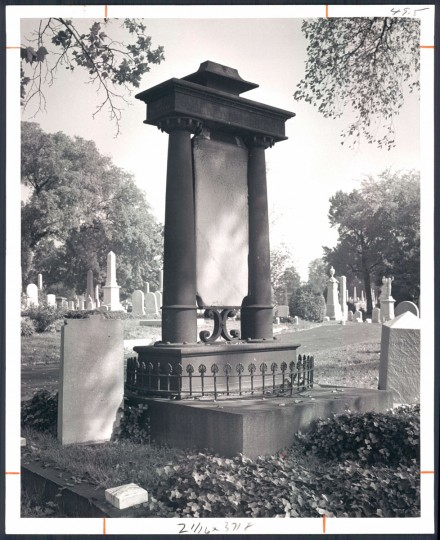 One of the more elaborate grave markers in Green Mount Cemetery is this one with columns and suspended tablet and decorative ironwork. March 2, 1969. (Bodine/Baltimore Sun)