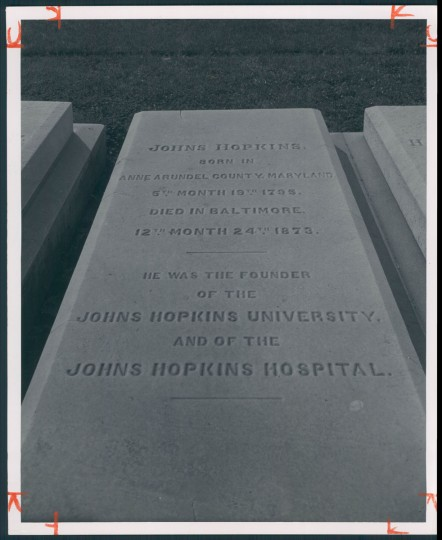 Johns Hopkins grave, July 7, 1957. (Bodine/Baltimore Sun)
