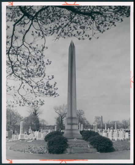 Tallest stone (30 feet) at Green Mount Cemetery. July 7, 1957. (Bodine/Baltimore Sun)