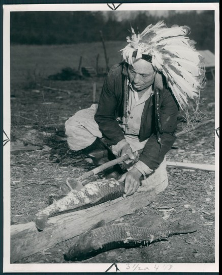 A neighbor often brings the Indians carp so big that Lawson Brooks uses a hoe in scaling them. (A. Aubrey Bodine/Baltimore Sun) Though many Lumbee migrated to Baltimore, in May 1950, The Sun also wrote about a group that came to St. Maryís County in Maryland. A. Aubrey photographed two families that had been tenant farmers in North Carolina but were able to purchase land in Maryland. A Maryland Piscataway Indian named Philip S. Proctor had been encouraging Lumbee to craft Indian costumes and to revive old cultural practices like powwows.