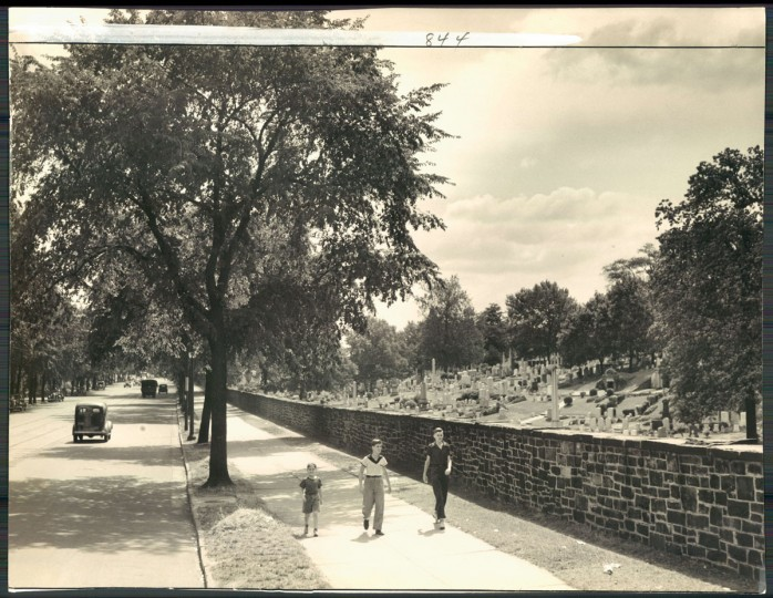Green Mount Cemetery as seen from North Avenue, undated photo. (Baltimore Sun)