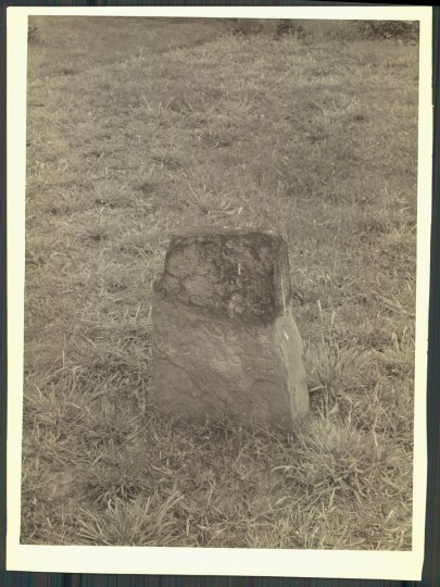 "This stone is incised ""Hanson's Wood Lott"" and is believed to be an old city boundary marker. Photo from 1957. (A. Aubrey Bodine/Baltimore Sun)"