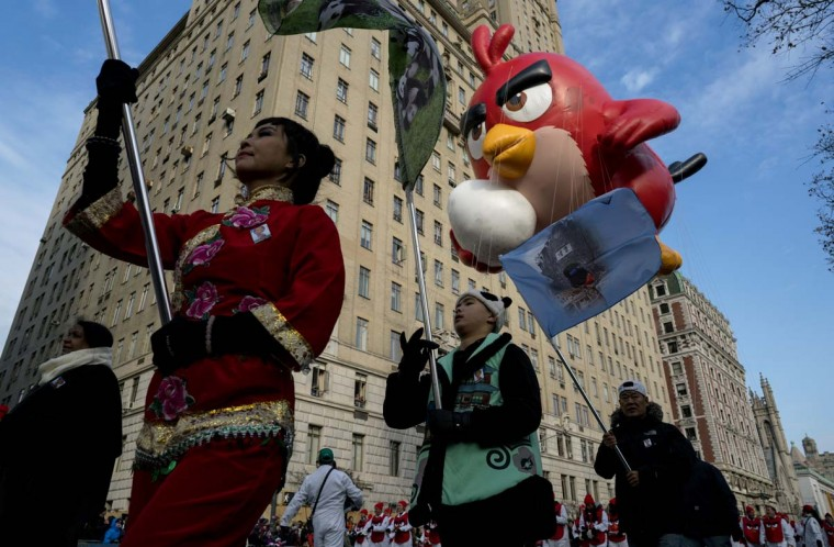 Angry Birds' Red floats above Central Park West during the Macy's Thanksgiving Day Parade in New York Thursday, Nov. 24, 2016. (AP Photo/Craig Ruttle)