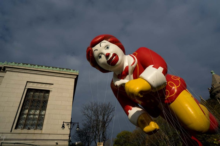 The Ronald McDonald balloon floats over Central Park West during the Macy's Thanksgiving Day Parade in New York Thursday, Nov. 24, 2016. (AP Photo/Craig Ruttle)