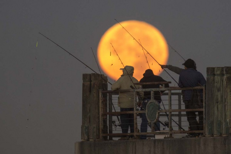 The moon sets behind people fishing on a pier during its closest orbit to the Earth since 1948 on November 14, 2016 in Redondo Beach, California. The so-called supermoon appears up to 14 percent bigger and 30 percent brighter as it comes about 22,000 miles closer to the Earth than average, though to the casual observer, the increase appears slight. (Photo by David McNew/Getty Images)