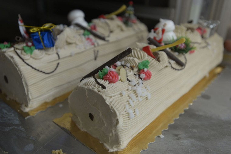 """In France, """"Every family has a Buche de Noel for Christmas,"""" says Martine Billebault, whose brother, Gerard, runs a French bakery in Baltimore. (Christina Tkacik/Baltimore Sun)"""