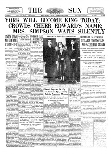 The Baltimore Sun headline following King Edward VIII's abdication.