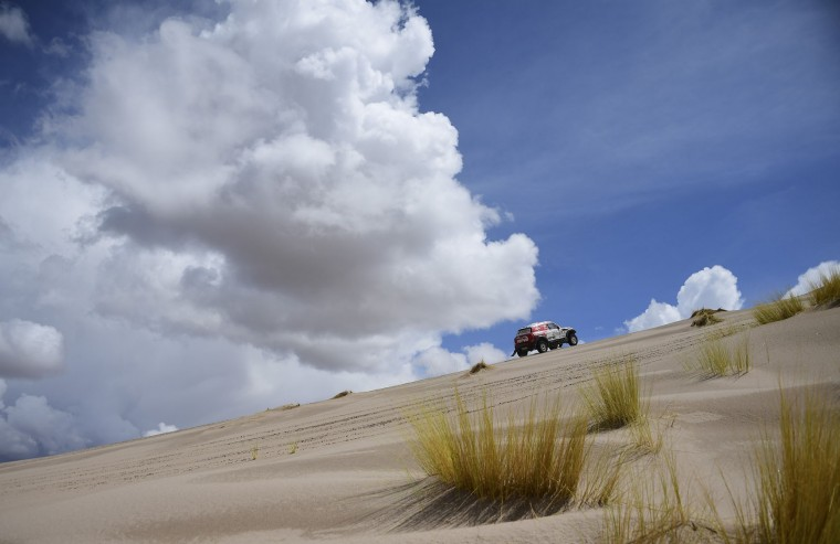 Jakub Przygonski of Poland and his co-driver Tom Colsoul of Belgium compete during the Stage 4 of the Dakar 2017 between San Salvador de Jujuy and Tupiza, Bolivia, on January 5, 2017. (Franck Fife/AFP/Getty Images)