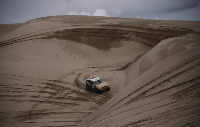 Toyota's driver Nani Roma of Spain and co-driver Alexandre Haro Bravo of Spain drive during the Stage 4 of the Dakar 2017 between San Salvador de Jujuy and Tupiza, Bolivia, on January 5, 2017. (Franck Fife/AFP/Getty Images)