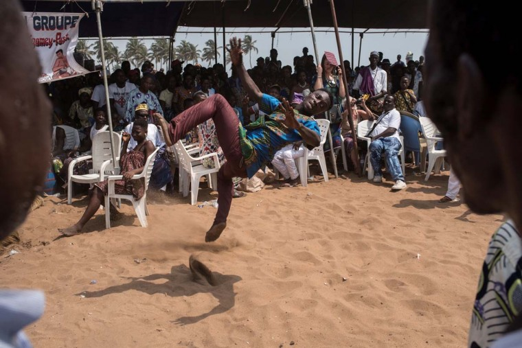 A man performs at the annual Voodoo Festival on January 10, 2017 in Ouidah. (STEFAN HEUNIS/AFP/Getty Images)