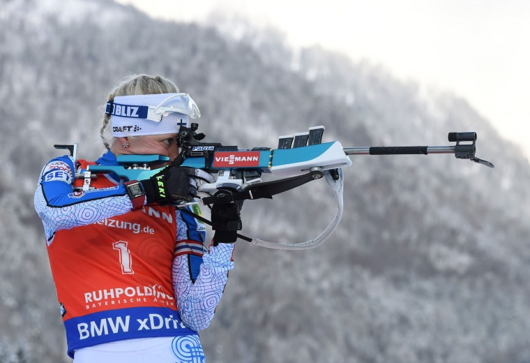 Finland's Kaisa Makarainen competes to win the women's 10 km pursuit competition of the Biathlon World Cup on January 15, 2017, in Ruhpolding, southern Germany. (Christof Stache/AFP/Getty Images)