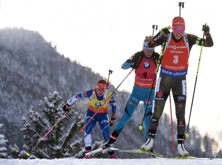 (R-L) German Laura Dahlmeier, French Marie Dorin Habert and Czech Gabriela Koukalova compete during the women's 10 km pursuit competition of the Biathlon World Cup on January 15, 2017, in Ruhpolding, southern Germany. (Christof Stache/AFP/Getty Images)