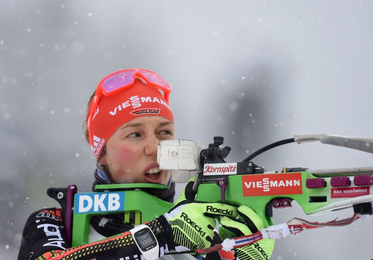 German Laura Dahlmeier competes during the warm up shooting prior the women 7,5 km sprint at the Biathlon World Cup on January 14, 2017, in Ruhpolding, southern Germany. (Christof Stache/AFP/Getty Images)