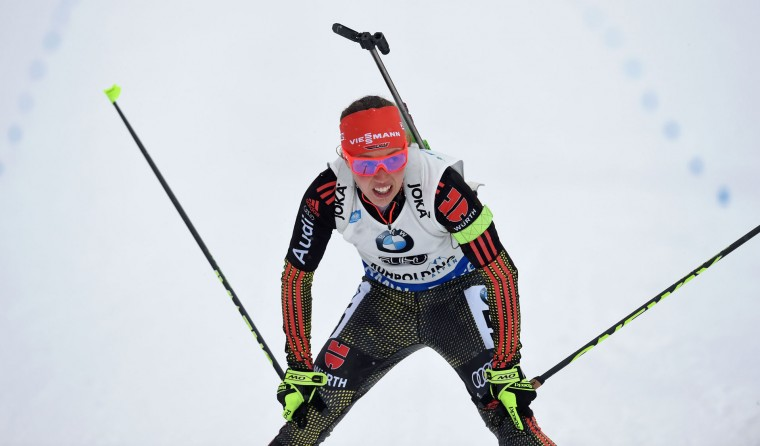 German Laura Dahlmeier reacts in the finish of the women 7,5 km sprint competition of the Biathlon World Cup on January 14, 2017, in Ruhpolding, southern Germany. (Christof Stache/AFP/Getty Images)
