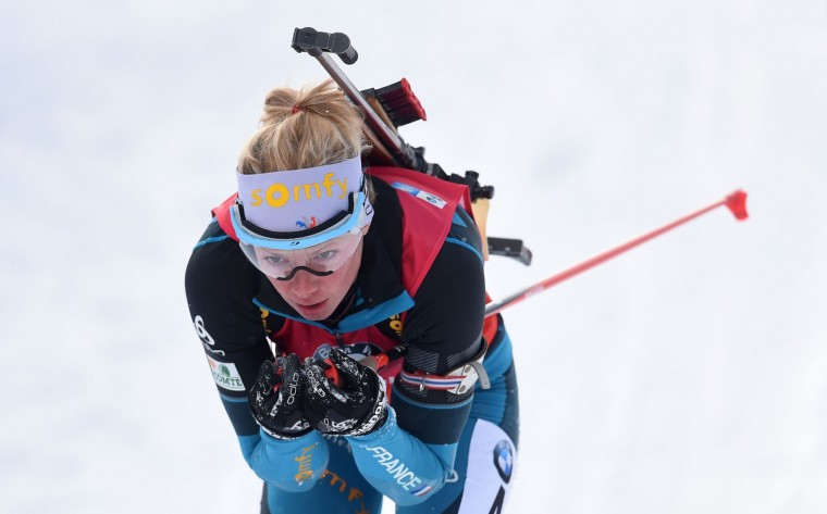 French Marie Dorin Habert competes during the women's 10 km pursuit competition of the Biathlon World Cup on January 15, 2017, in Ruhpolding, southern Germany. (Christof Stache/AFP/Getty Images)
