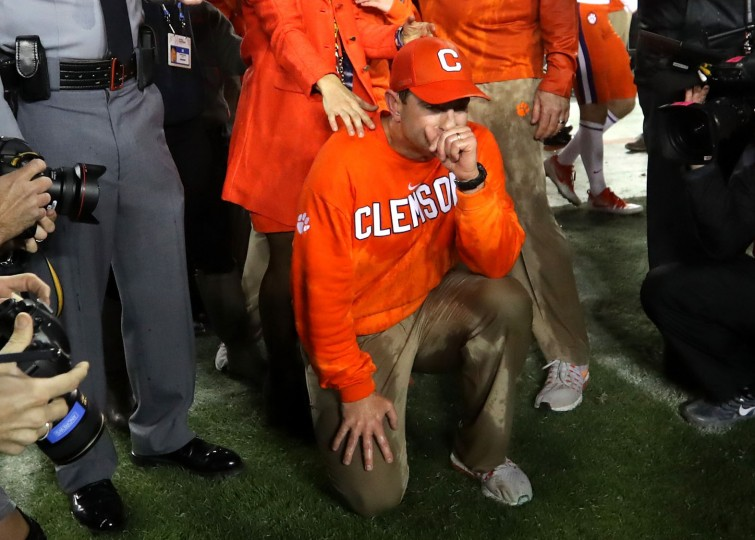 Head coach Dabo Swinney of the Clemson Tigers reacts after defeating the Alabama Crimson Tide 35-31 to win the 2017 College Football Playoff National Championship Game at Raymond James Stadium on January 9, 2017 in Tampa, Florida. (Photo by Streeter Lecka/Getty Images)