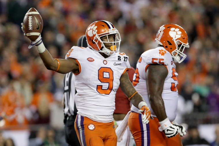 Running back Wayne Gallman #9 of the Clemson Tigers celebrates after rushing for a 1-yard touchdown during the fourth quarter against the Alabama Crimson Tide in the 2017 College Football Playoff National Championship Game at Raymond James Stadium on January 9, 2017 in Tampa, Florida. (Photo by Ronald Martinez/Getty Images)