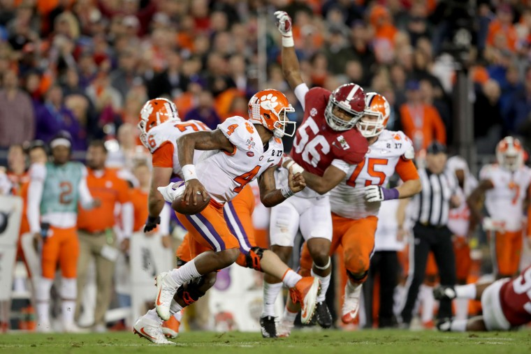 Quarterback Deshaun Watson #4 of the Clemson Tigers scrambles during the second half against the Alabama Crimson Tide in the 2017 College Football Playoff National Championship Game at Raymond James Stadium on January 9, 2017 in Tampa, Florida. (Photo by Streeter Lecka/Getty Images)