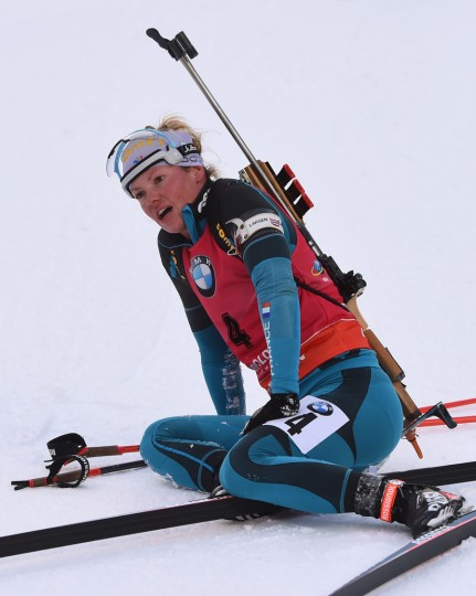 Marie Dorin-Habert of France reacts after placing third in the women's 10 km pursuit competition of the Biathlon World Cup on January 15, 2017, in Ruhpolding, southern Germany. (Christof Stache/AFP/Getty Images)