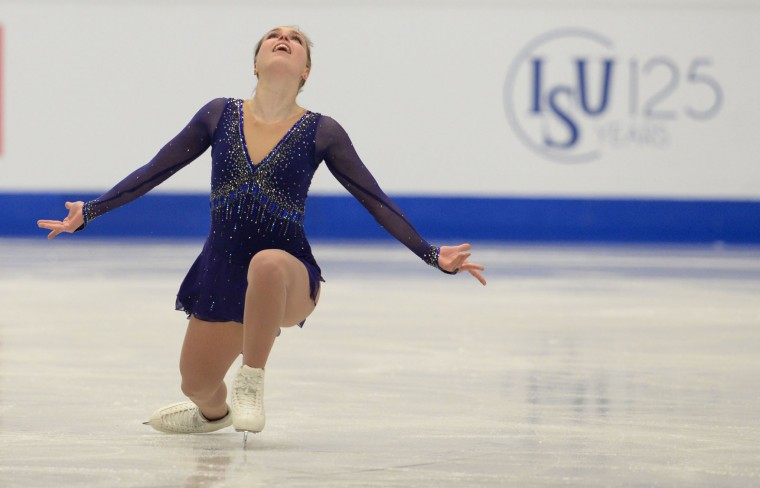 Slovakia's Nicole Rajicova competes during the ladies free skating competition of the European Figure Skating Championship in Ostrava, Czech Republic on January 27, 2017. (Michal Cizek/AFP/Getty Images)