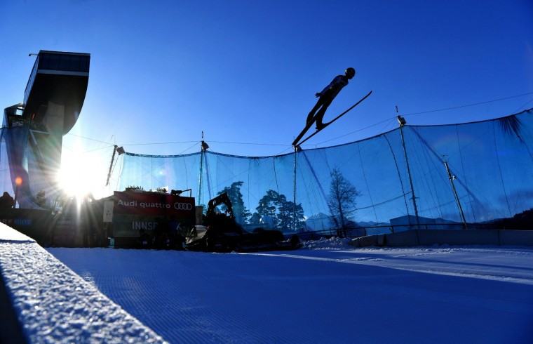 Daniel Huber of Austria soars through the air during his trial jump of the ski jumping event in Innsbruck, which is the third station of the Four-Hills Ski Jumping tournament (Vierschanzentournee), on January 3, 2017. (Barbara Gindl/AFP/Getty Images)