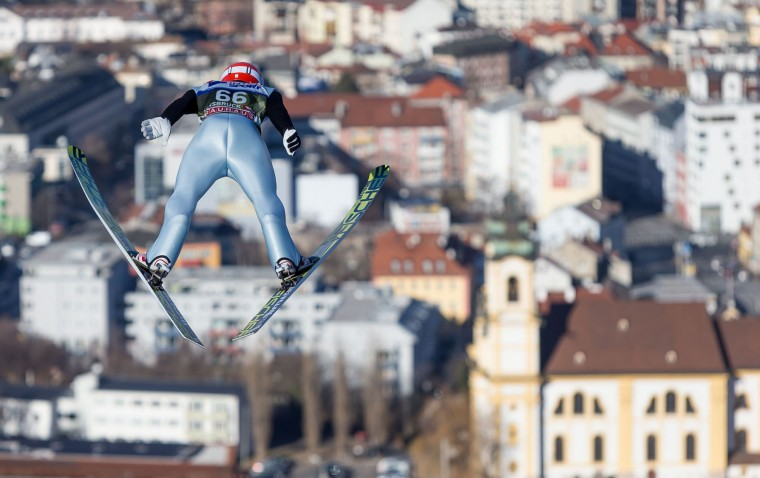 Markus Eisenbichler of Germany soars through the air during his second trial jump of the Four Hills competition (Vierschanzentournee) of the FIS Ski Jumping World Cup in Innsbruck on January 3, 2017. The third competition of the Four-Hills Ski jumping event takes place in Innsbruck before the tournament continues in Bischofshofen (Austria). (Jakob Gruber/AFP/Getty Images)