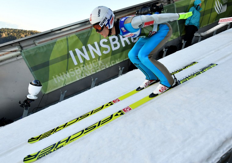 Daniel Andre Tande of Norway prepares during a training session of the Four Hills competition (Vierschanzentournee) of the FIS Ski Jumping World Cup in Innsbruck on January 3, 2017. The third competition of the Four-Hills Ski jumping event takes place in Innsbruck before the tournament continues in Bischofshofen (Austria). (Barbara Gindl/AFP/Getty Images)