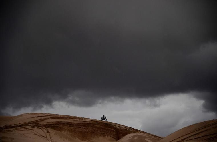 A biker rides during Stage 4 of the 2017 Dakar Rally between San Salvador de Jujuy in Argentina and Tupiza in Bolivia, on January 5, 2017. (Franck Fife/AFP/Getty Images)
