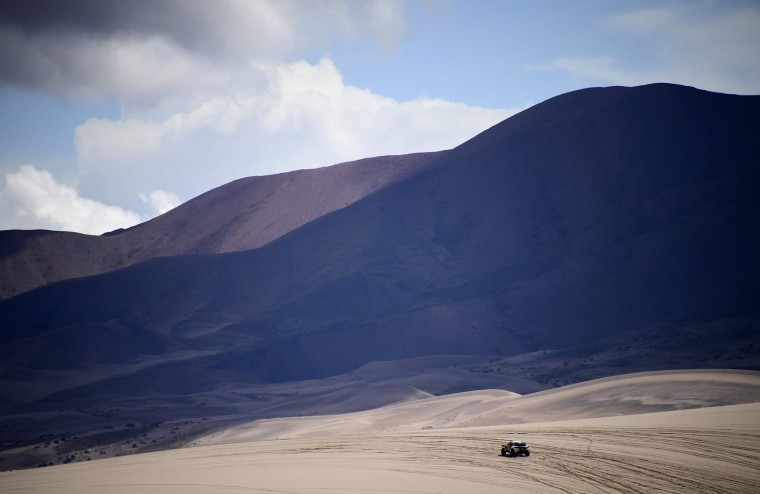 Peugeot's driver Cyril Despres and co-driver David Castera of France compete during Stage 4 of the 2017 Dakar Rally between San Salvador de Jujuy in Argentina and Tupiza in Bolivia, on January 5, 2017. (Franck Fife/AFP/Getty Images)