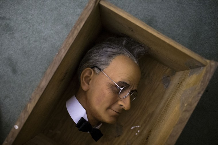 The head of Harry S. Truman is packed in a box during the Hall of Presidents and First Ladies Museum wax figure auction in Gettysburg, Pa., Saturday, Jan. 14, 2017. The museum, which displayed the figures of 44 presidents and their first ladies, operated on Baltimore Street for 60 years, the company said in a news release. (Sean Simmers/PennLive.com via AP)