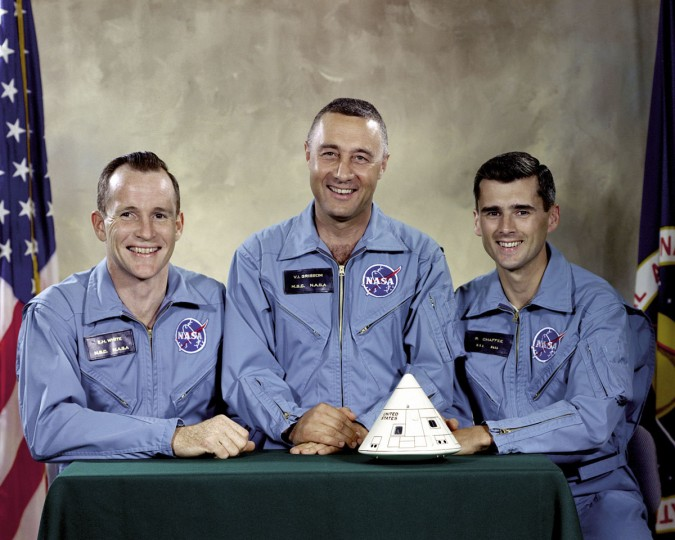 "This undated photo made available by NASA shows the Apollo 1 crew, from left, Edward H. White II, Virgil I. ""Gus"" Grissom, and Roger B. Chaffee. On Jan. 27, 1967, a flash fire erupted inside their capsule during a countdown rehearsal, with the astronauts atop the rocket at Cape Canaveral's Launch Complex 34. All three were killed. (NASA via AP)"