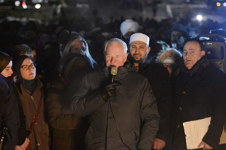 Canada's Governor General David Johnston speaks in response to Sunday's deadly shooting at a Quebec City mosque, during a vigil on Parliament Hill in Ottawa, Ontario, Monday, Jan. 30, 2017. (Justin Tang/The Canadian Press via AP)