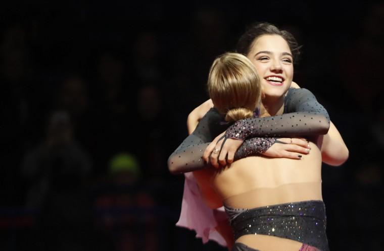 Gold medalist Russia's Evgenia Medvedeva, right, hugs with silver medalist Russia's Anna Pogorilaya, left, after the free program at the European Figure Skating Championships in Ostrava, Czech Republic, Friday, Jan. 27, 2017. (AP Photo/Petr David Josek)