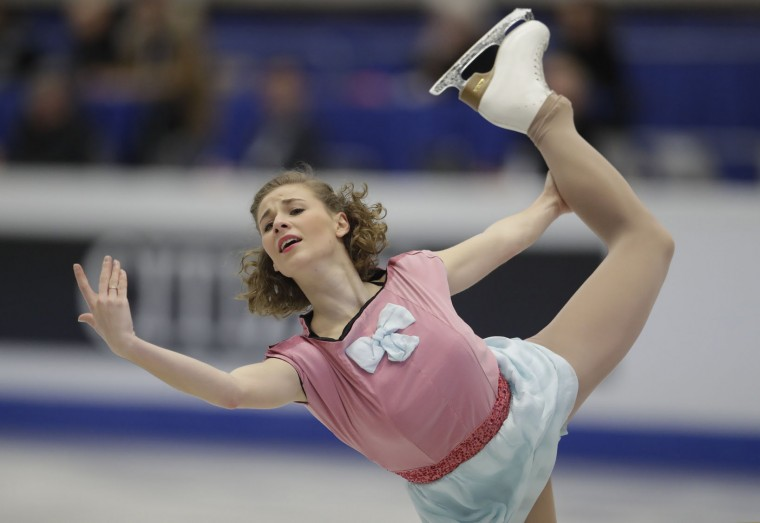 France's Laurine Lecavelier skates her free program at the European Figure Skating Championships in Ostrava, Czech Republic, Friday, Jan. 27, 2017. (AP Photo/Petr David Josek)