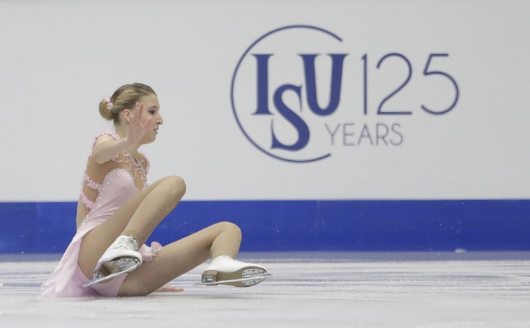 Russia's Marina Sotskova falls during her free program at the European Figure Skating Championships in Ostrava, Czech Republic, Friday, Jan. 27, 2017. (AP Photo/Petr David Josek)