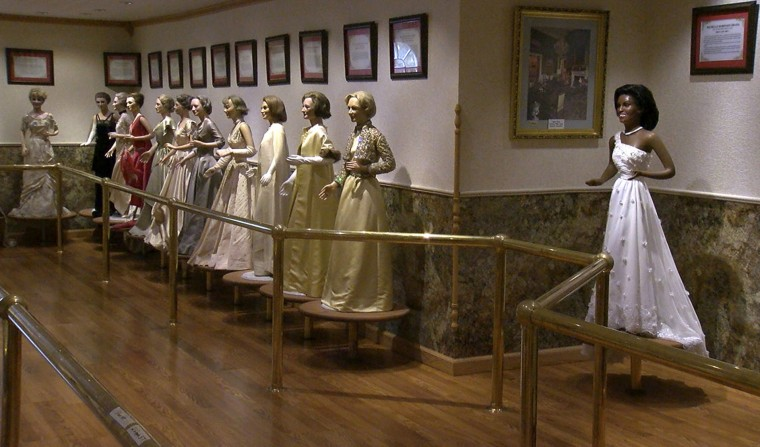 In this Dec. 22, 2016 image from video, wax figures of U.S. first ladies stand on display at the Hall of Presidents and First Ladies in Gettysburg, Pa. The Hall of Presidents and First Ladies Museum in Gettysburg closed in November. The shuttered museum that features wax figures of all 44 U.S. presidents and their First Ladies is getting ready to display the figures before they're auctioned off Jan. 14, 2017. (David Tristan/WHTM-TM via AP)