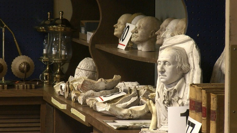 In this December 2016 image from video, fragments of wax sculptures are displayed at The Hall of Presidents and First Ladies Museum in Gettysburg, Pa. The Hall of Presidents and First Ladies Museum in Gettysburg closed in November. The shuttered museum that features wax figures of all 44 U.S. presidents and their First Ladies is getting ready to display the figures before they're auctioned off Jan. 14, 2017. (David Tristan/WHTM-TM via AP)
