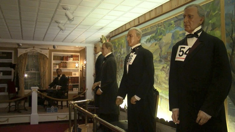 In this Dec. 22, 2016 image from video, wax figures of U.S. presidents stand on display at the Hall of Presidents and First Ladies in Gettysburg, Pa. The shuttered museum, which closed in November, that features wax figures of all 44 U.S. presidents and their first ladies is getting ready to display the figures before they're auctioned off Jan. 14, 2017. (David Tristan/WHTM-TM via AP)