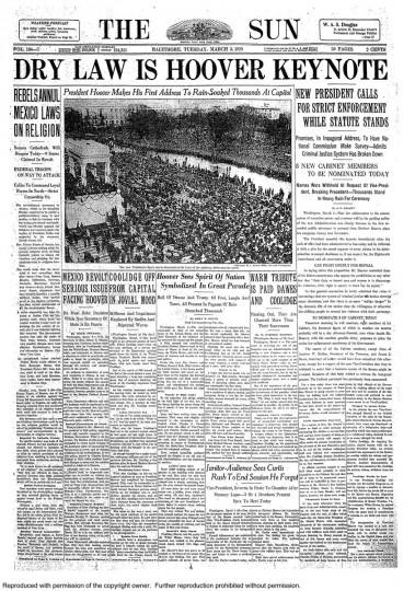 Herbert Hoover. March 5, 1929.