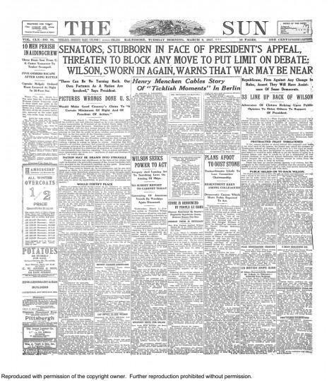 Woodrow Wilson. March 6, 1917.