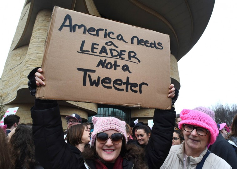 "Ashlin Treadway, of North Attleboro, MA, came with a Unitarian Universalist Church group to the Women's March on Washington. Her sign said, ""America needs a LEADER not a Tweeter. (Amy Davis/Baltimore Sun)"