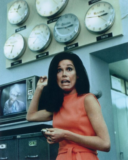 1970: Mary Tyler Moore looks surprised while attempting to set her watch in front of a wall of clocks, all of which show different time zones, in a promotional portrait for the TV program 'The Mary Tyler Moore Show'. (Photo by CBS Photo Archive/Getty Images)