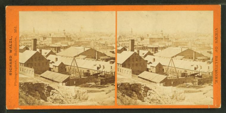Baltimore from Federal Hill - looking N. W. 1870. (Image via New York Public Library, Miriam and Ira D. Wallach Division of Arts, Prints and Photographs: Photography Collection)