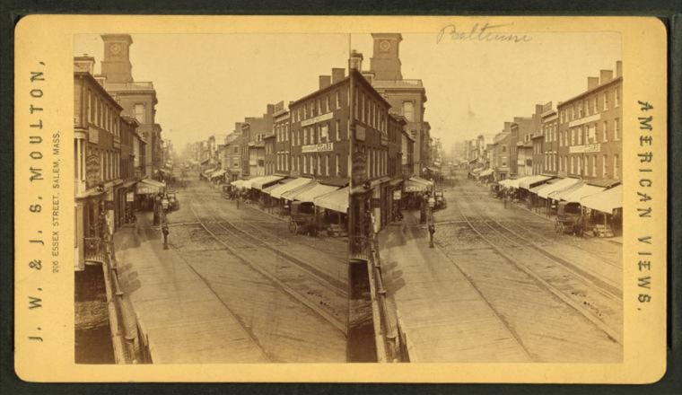 Baltimore Street. (Image via New York Public Library, Miriam and Ira D. Wallach Division of Arts, Prints and Photographs: Photography Collection)