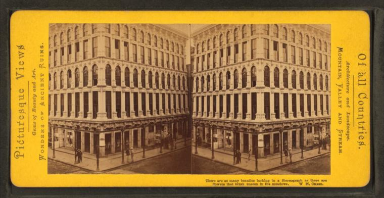 The old Baltimore Sun building. (Image via New York Public Library, Miriam and Ira D. Wallach Division of Arts, Prints and Photographs: Photography Collection)