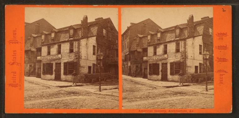 The oldest home in Baltimore. (Image via New York Public Library, Miriam and Ira D. Wallach Division of Arts, Prints and Photographs: Photography Collection)