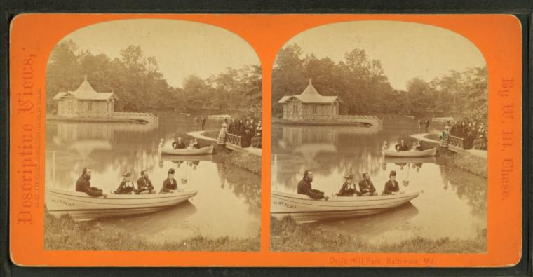 Druid Hill Park lake. (Image via New York Public Library, Miriam and Ira D. Wallach Division of Arts, Prints and Photographs: Photography Collection)