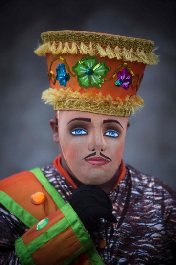 "A man dressed as a traditional character in the ""Baile de Negras"" dance poses for a picture on the feast day of the Virgin of the Candelaria (Candlemas) in the town of Diriomo, some 45 km from Managua, Nicaragua on February 2, 2017. Candlemas falls forty days after Christmas and is celebrated by Catholics as the presentation of Christ at the Temple. (AFP Photo/Inti Ocon)"